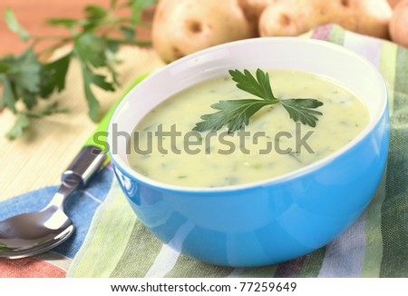 Cream of potato with herbs and green onions garnished with parsley and served in a blue bowl with potatoes and parsley in the back (Selective Focus, Focus on the front of the parsley)