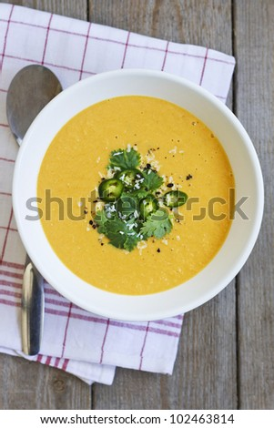 Cream of Vegetable Soup with Cilantro and Chili. - stock photo