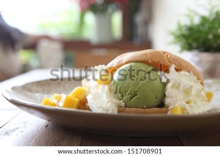 cream puff on wood background