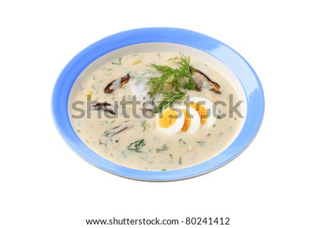 Cream soup with dill, mushrooms, potatoes and boiled egg