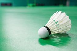 Cream white badminton shuttlecock and neon light shading on a green floor indoor badminton court , badminton sport wallpaper or background for presentation with copy space on the left