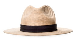 Cream wide-brimmed hat with strap by black cloth isolated on white background with clipping path.