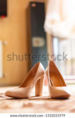 cream women classic shoes with heels on the floor #1332031979