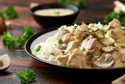 Creamy Chicken and mushroom with white rice