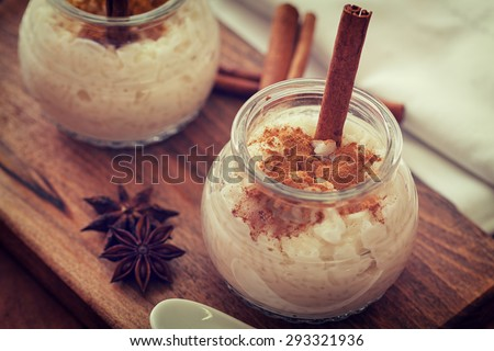 Shutterstock Creamy Rice Pudding with cinnamon in a Jar