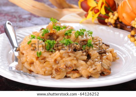 Creamy risotto with wild porcini mushrooms and fresh herbs.