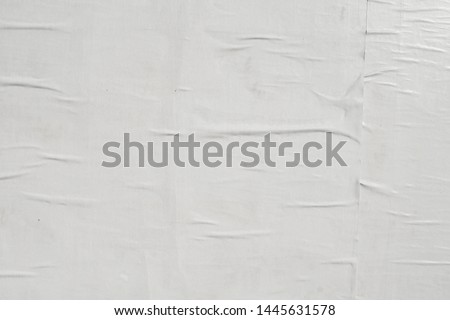creased crumpled wrinkled glued plastered weathered textured minimal empty white street poster paper background