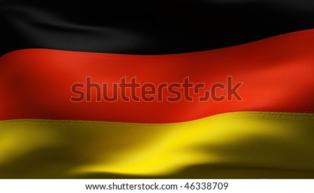 Creased German cotton flag with visible stitch