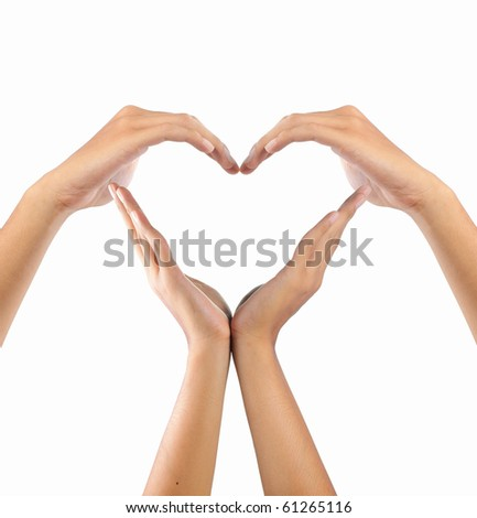 create a form of love shape by hands - stock photo