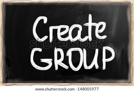 Create group handwritten with chalk on a blackboard - stock photo