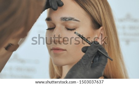 Create permanent eyebrow makeup. Eyebrow discoloration and peeling of old paint.