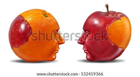 Create Synergy and leadership  as social cooperation in education learning and fair trading from one partner to another team member with an apple and an orange puzzle shaped as human heads on white.