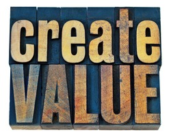 create value typography - inspiration concept - isolated words in vintage letterpress wood type blocks