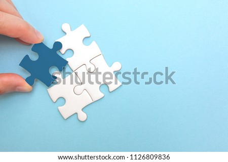 Creating or building own business concept. Puzzle piece mismatch, construction and development, build construct, idea and success, solution and growth, difference