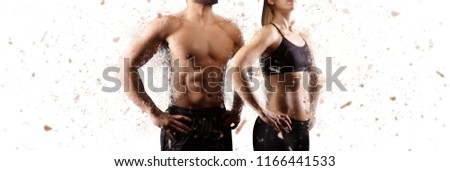 Creating the perfect male and female upper body concept. Dispersion effect. Isolated on white background.