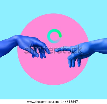 Creation of Adam. Contemporary art collage. Memphis style poster concept. Minimal art, 3d illustration.