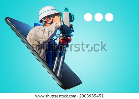 Creation of cartographic images. Application for surveyor. Portrait of surveyor in smartphone screen. Surveyor app or site concept. Cartographer with theodolite. Creation of geodetic images. Сток-фото ©