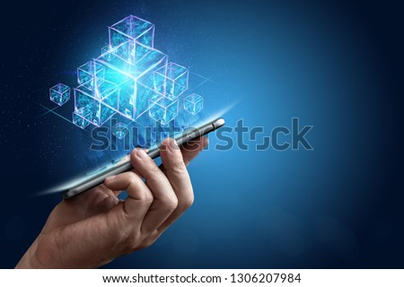 Creative, abstract background, technology blockchain, ultraviolet background. The concept of cryptography, electronic money, Internet protection. Copy space. #1306207984