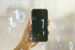 Creative abstract binary code sketch and hand with cellphone on background, hacking and matrix concept. Multiexposure