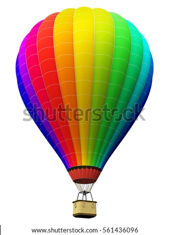 Stock Photo Creative abstract colorful travel, tourism aerial transportation and freedom concept: 3D render illustration of color rainbow hot air balloon with gondola basket isolated on white background