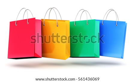 Creative abstract commercial business retail sale and online shopping concept: 3D render illustration of the group of color paper shopping bags isolated on white background