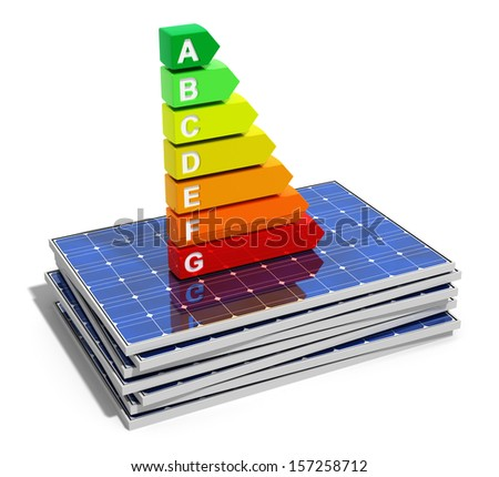 Creative abstract energy efficiency, power saving, environmental ecology conservation and solar energy business industry concept: energy efficiency scale on stack of solar panels isolated on white