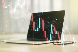 Creative abstract global crisis chart with world map sketch on modern laptop background, falling markets and collapse of global economy concept. Double exposure