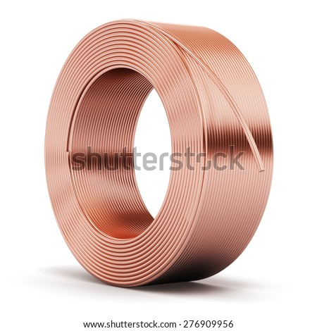 Creative abstract heavy non-ferrous metallurgical industry and industrial manufacturing business production concept: hunk of shiny metal copper electrical power wire cable isolated on white background ストックフォト ©