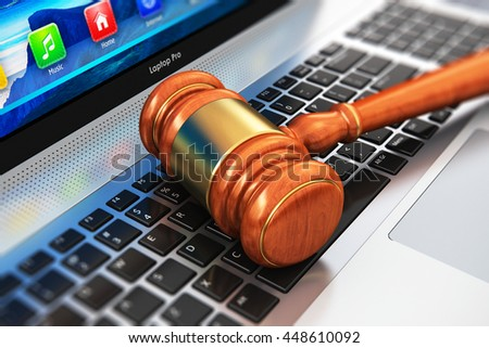 Creative abstract law, justice and auction lot bidding business concept: 3D render illustration of wooden gavel, mallet or hammer on notebook or laptop computer PC keyboard with selective focus effect
