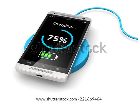 Creative abstract modern communication technology business concept: wireless charging of modern black glossy metal touchscreen smartphone on wireless power charger isolated on white background