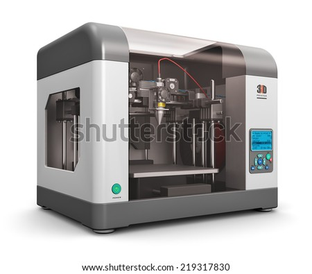 Creative abstract new technologies concept: modern professional plastic 3D printer isolated on white background