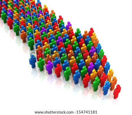 Creative abstract social communication network, business corporate teamwork and leadership concept: color people figures in arrow form moving on their way object isolated on white background