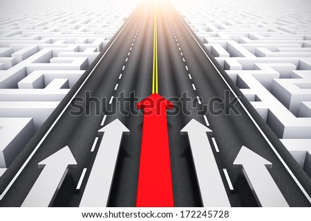 Creative Abstract Success, Leadership And Business Competition Challenge Corporate Concept: Group Of Arrows Moving By Highway Over Endless Labyrinth