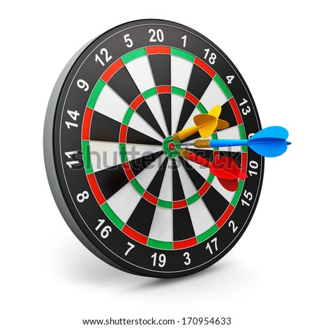 Creative abstract success, leadership and winning competition concept: darts game with dartboard and color arrows isolated on white background