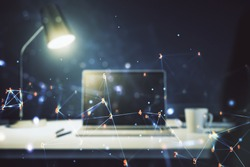 Creative abstract technology sketch on modern laptop background, future technology and AI concept. Double exposure