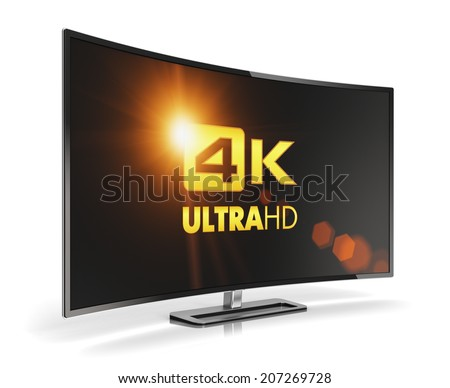 Creative abstract ultra high definition digital television screen technology concept curved 4K UltraHD TV or computer PC monitor display isolated on white background with reflection effect