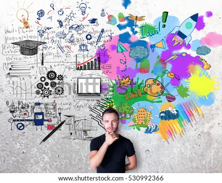Creative and analytical thinking concept. Thoughtful man with colorful sketch on concrete background #530992366