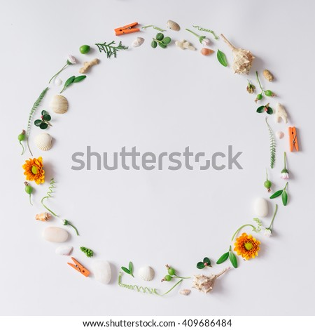 Creative arrangement made of natural summer things. Flat lay #409686484