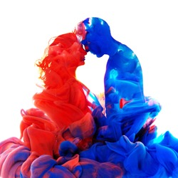 Creative art collage of couple in love formed by color ink dissolving in water isolated on white background.