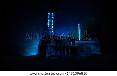 Creative artwork decoration. Chernobyl nuclear power plant at night. Layout of abandoned Chernobyl station after nuclear reactor explosion. Selective focus #1481396810