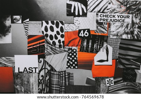 Creative Atmosphere art mood board collage sheet in color idea black, white, red made of teared paper with different textures.
