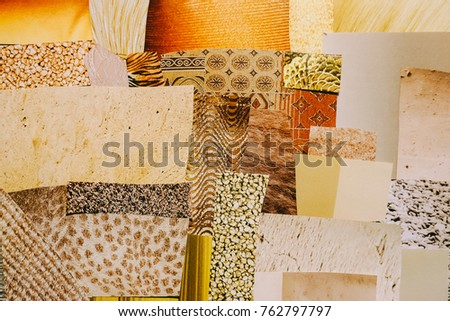 Creative Atmosphere art mood board collage sheet in color idea gold, yellow, orange made of teared paper with different textures.