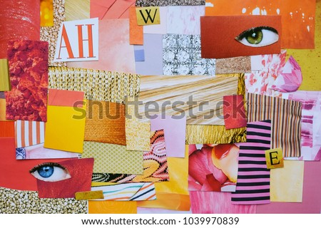 Creative Atmosphere art mood board. Handmade collage made of magazines and color paper cut clippings. Mixed texture background.