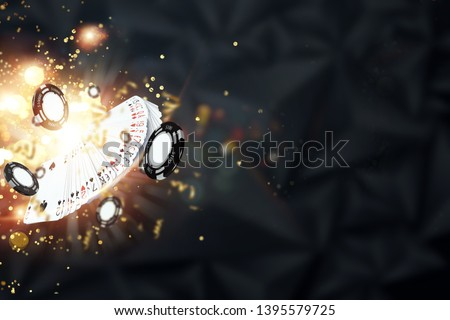 Creative background, cards, casino chips on a dark background. The concept of gambling, poker, casino, winnings, Vegas Games Background. 3D render, 3D illustration.
