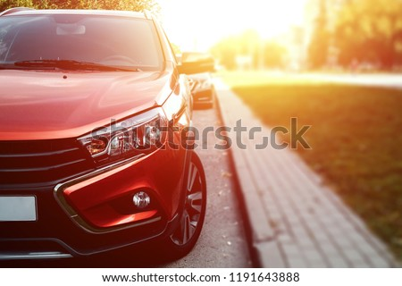 Creative background, High-beam headlight of the newest car. Copy space.
