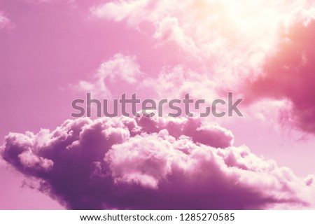Creative background, pink, fluffy, vanilla clouds. The concept of lightness, magic, magic, fairy tale, good. Background for cards, flyers. #1285270585