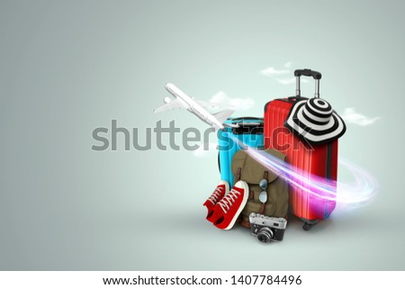 Creative background, red suitcase, sneakers, plane on a gray background. Concept of travel, tourism, vacation, vacation, dream. Copy space. 3D illustration, 3D rendering