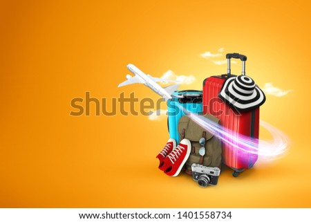 Creative background, red suitcase, sneakers, plane on a yellow background. Concept of travel, tourism, vacation, vacation, dream. Copy space. 3D illustration, 3D rendering