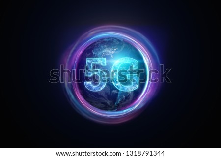 Creative background, the inscription 5G on the background of the globe. The concept of 5G network, high-speed mobile Internet, new generation networks. Copy space, Mixed media. 3d rendering