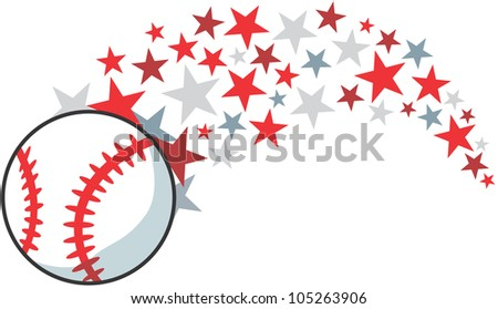 Creative Baseball Illustration hitting like a baseball star